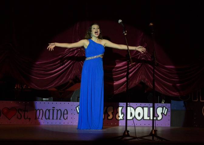 """Taylor Maresca opens the 2015 Montie Awards ceremony with """"No Business Like Show Business."""" (Photo by Brad Meyers)"""
